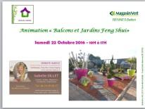 Journée jardins balcons Feng Shui au MAGASIN VERT de RENNES Betton avec Isabelle GILLET