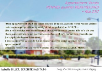 SERENITE HABITAT Témoignage Feng Shui Home Staging vente appartement RENNES 2017